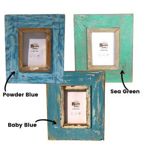 Sea blue A6 Rustic picture frame set of 3