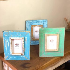 A6 blue wooden picture frame set of 3