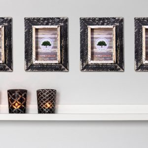 black rustic picture frame set of 4